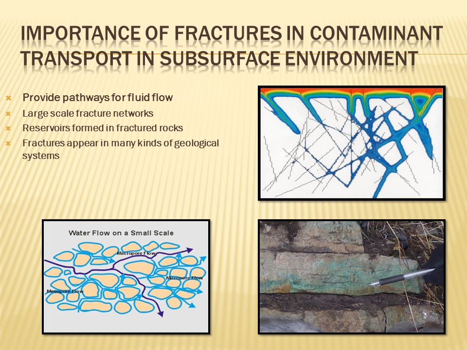  Provide pathways for fluid flow  Large scale fracture networks  Reservoirs formed in fractured rocks  Fractures appear in many kinds of geological systems