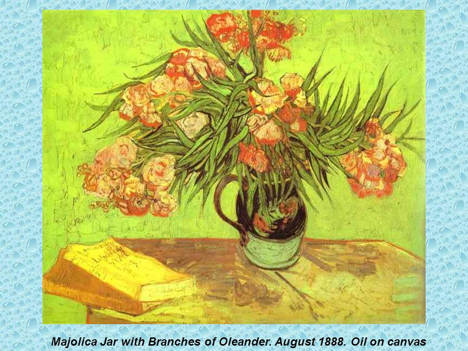 Majolica Jar with Branches of Oleander. August 1888. Oil on canvas