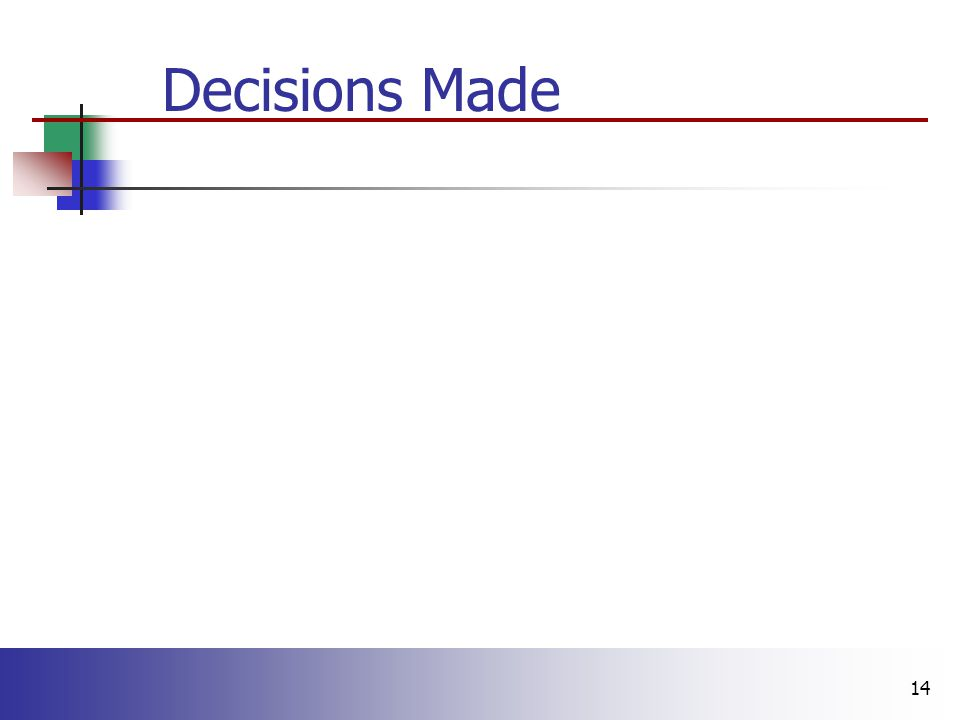 14 Decisions Made