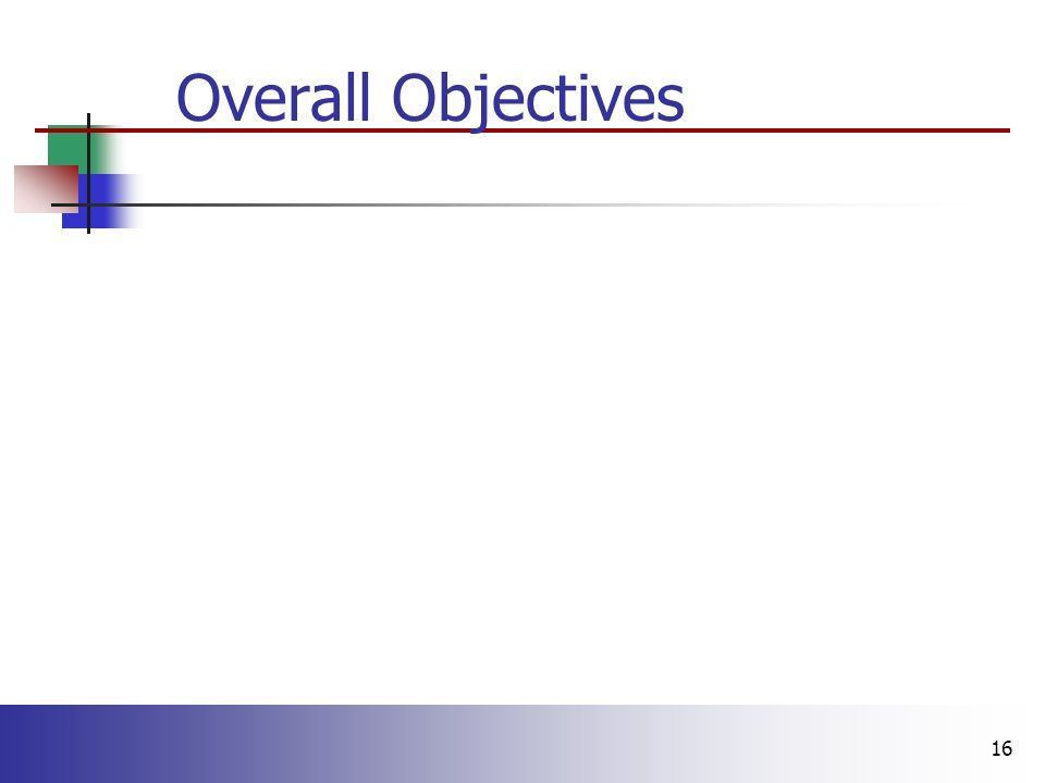 16 Overall Objectives