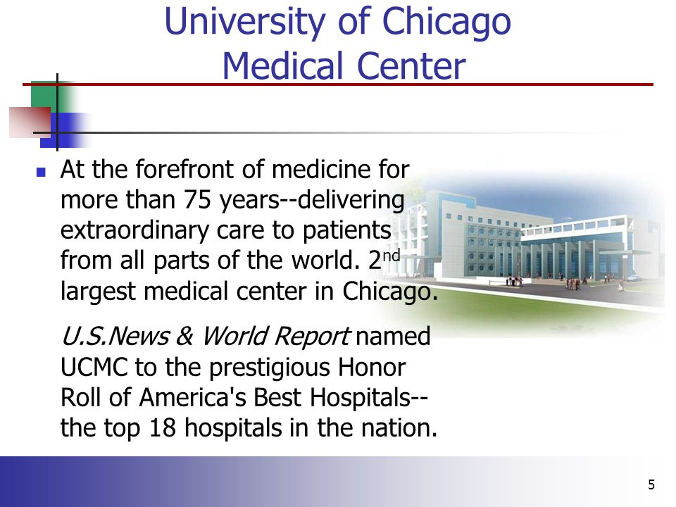 5 At the forefront of medicine for more than 75 years--delivering extraordinary care to patients from all parts of the world.