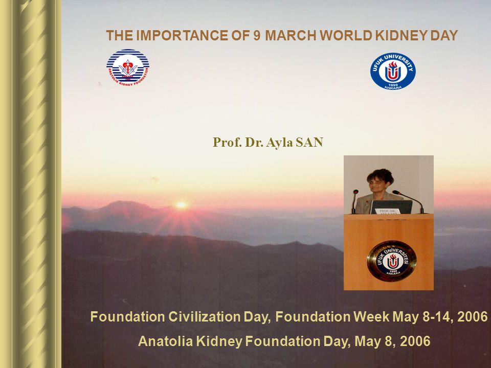Foundation Civilization Day, Foundation Week May 8-14, 2006 Anatolia Kidney Foundation Day, May 8, 2006 Prof.