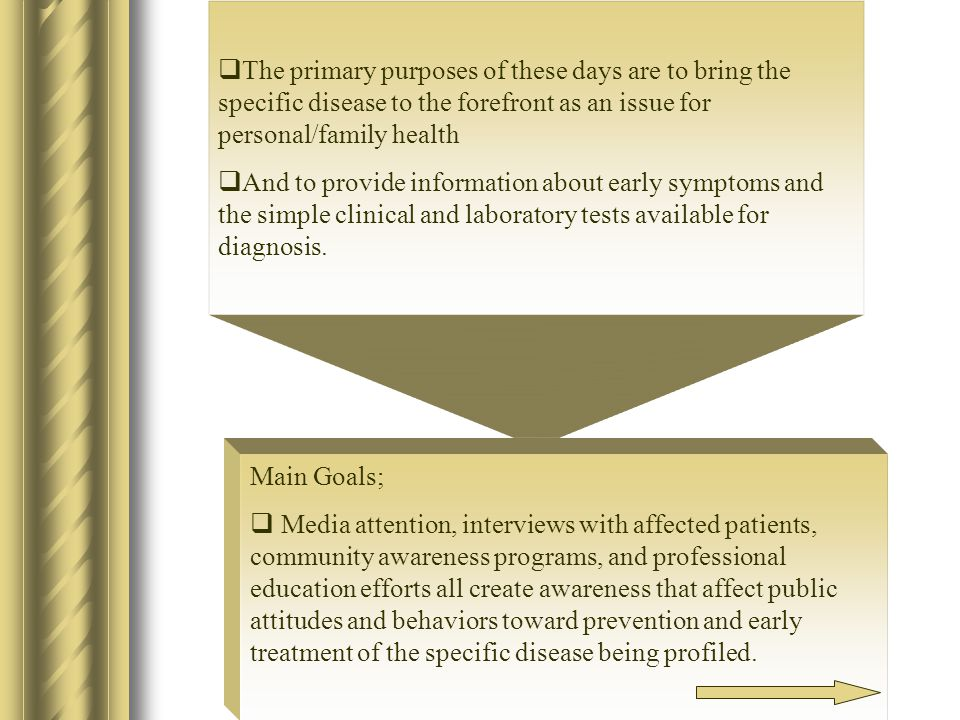  The primary purposes of these days are to bring the specific disease to the forefront as an issue for personal/family health  And to provide information about early symptoms and the simple clinical and laboratory tests available for diagnosis.