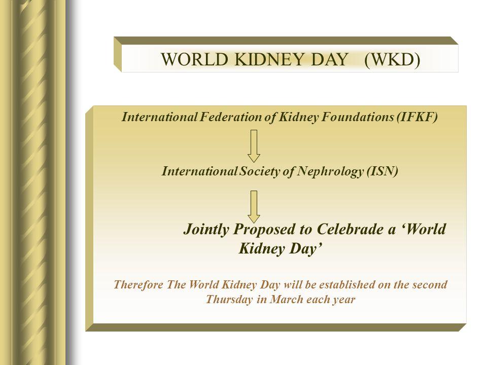 WORLD KIDNEY DAY (WKD) International Federation of Kidney Foundations (IFKF) International Society of Nephrology (ISN) Jointly Proposed to Celebrade a