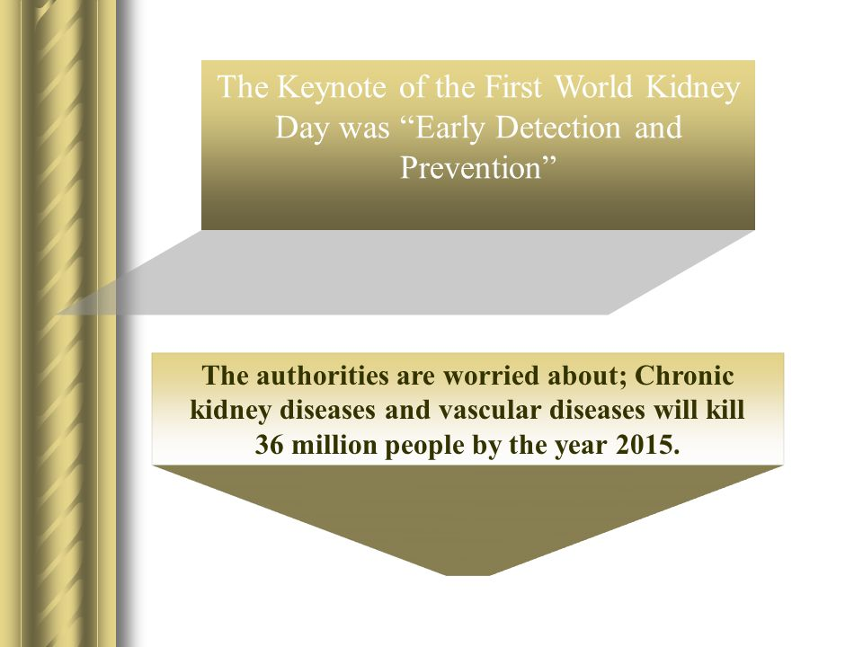 """The Keynote of the First World Kidney Day was """"Early Detection and Prevention"""" The authorities are worried about; Chronic kidney diseases and vascular"""