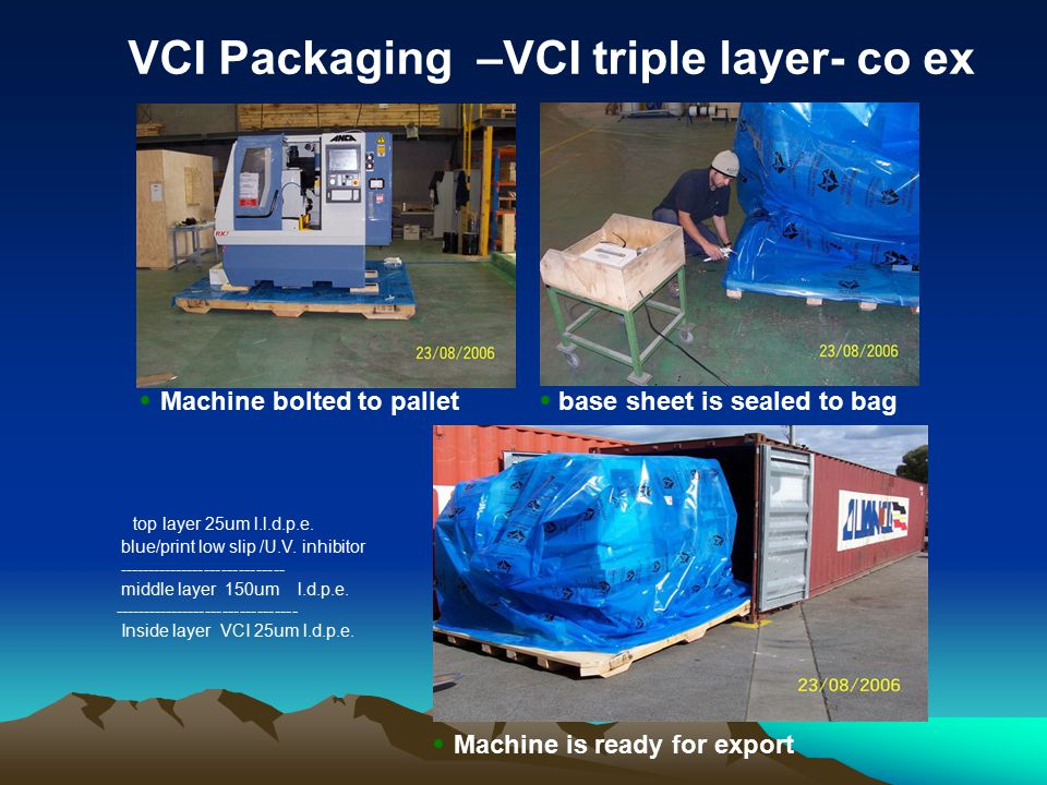 VCI Packaging –VCI triple layer- co ex Machine bolted to pallet base sheet is sealed to bag Machine is ready for export top layer 25um l.l.d.p.e.