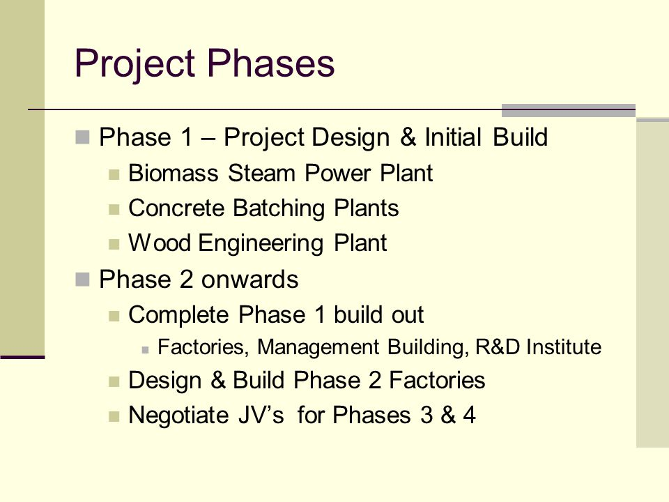 Project Phases Phase 1 – Project Design & Initial Build Biomass Steam Power Plant Concrete Batching Plants Wood Engineering Plant Phase 2 onwards Complete Phase 1 build out Factories, Management Building, R&D Institute Design & Build Phase 2 Factories Negotiate JV's for Phases 3 & 4