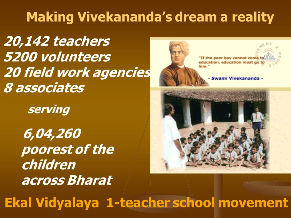 Making Vivekananda's dream a reality Ekal Vidyalaya 1-teacher school movement 20,142 teachers 5200 volunteers 20 field work agencies 8 associates 6,04,260 poorest of the children across Bharat serving