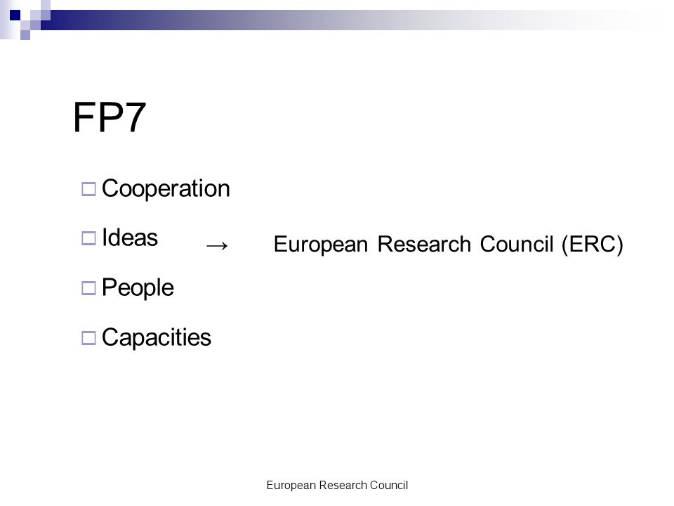 European Research Council FP7  Cooperation  Ideas  People  Capacities →European Research Council (ERC)
