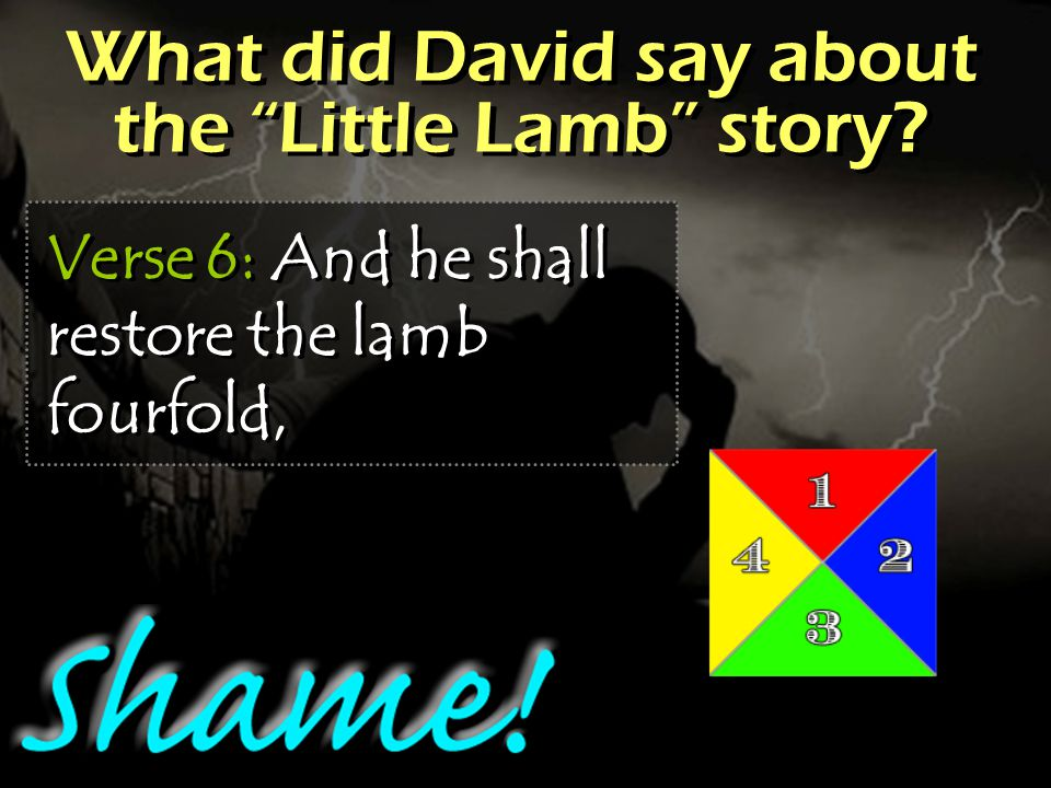 What did David say about the Little Lamb story Verse 6: And he shall restore the lamb fourfold,