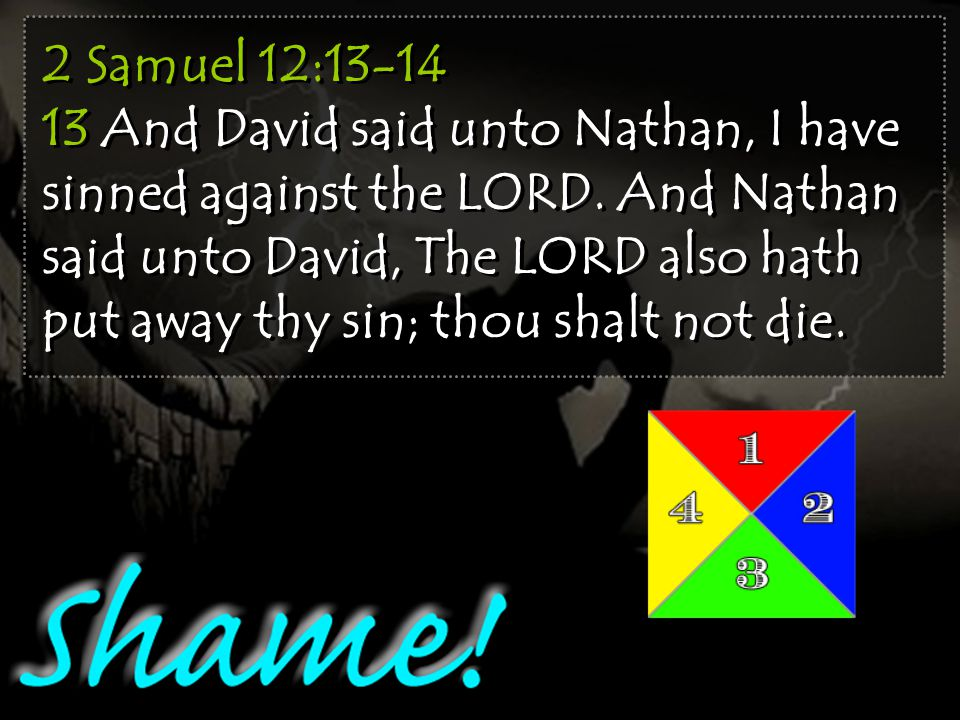 2 Samuel 12:13-14 13 And David said unto Nathan, I have sinned against the LORD.