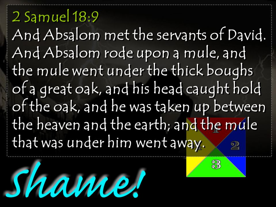 2 Samuel 18:9 And Absalom met the servants of David.