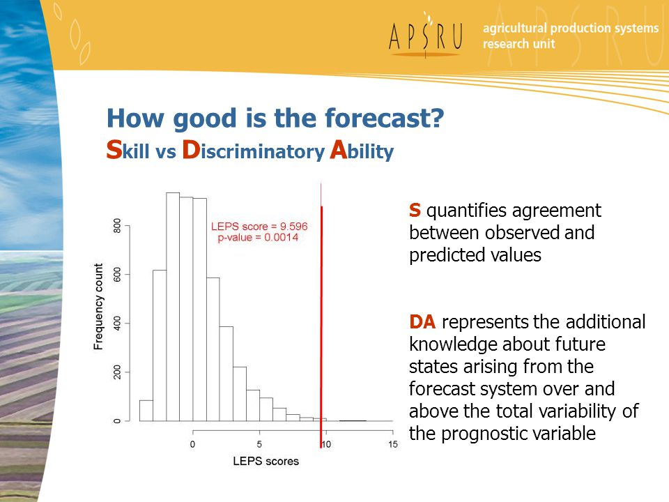 How good is the forecast? S kill vs D iscriminatory A bility S quantifies agreement between observed and predicted values DA represents the additional