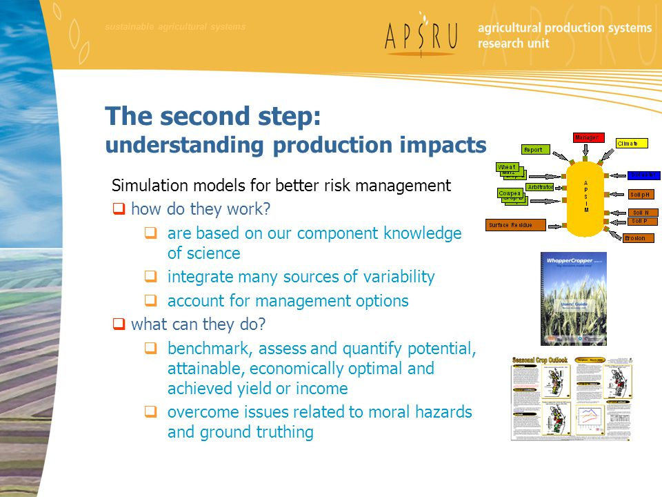 sustainable agricultural systems The second step: understanding production impacts Simulation models for better risk management  how do they work.