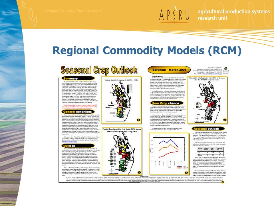 Regional Commodity Models (RCM) sustainable agricultural systems