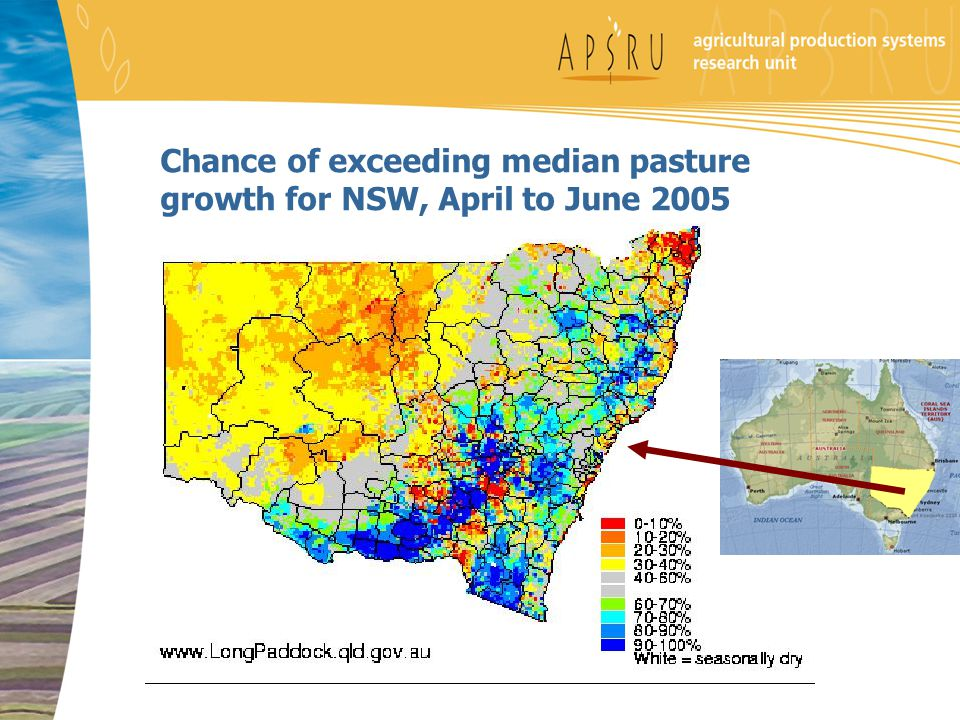 Chance of exceeding median pasture growth for NSW, April to June 2005