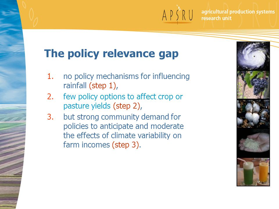 The policy relevance gap 1.no policy mechanisms for influencing rainfall (step 1), 2.few policy options to affect crop or pasture yields (step 2), 3.but strong community demand for policies to anticipate and moderate the effects of climate variability on farm incomes (step 3).