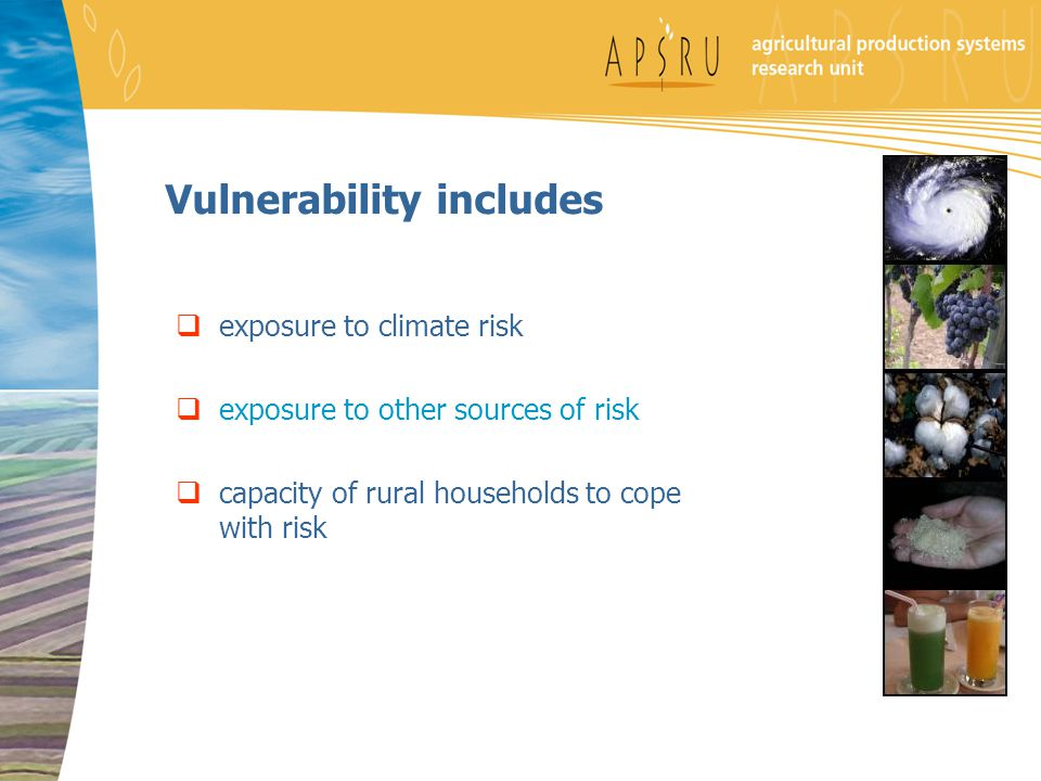 Vulnerability includes  exposure to climate risk  exposure to other sources of risk  capacity of rural households to cope with risk