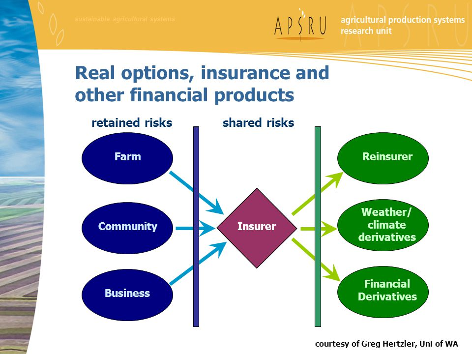 shared risks Farm Community Business Insurer Reinsurer Weather/ climate derivatives Financial Derivatives Real options, insurance and other financial