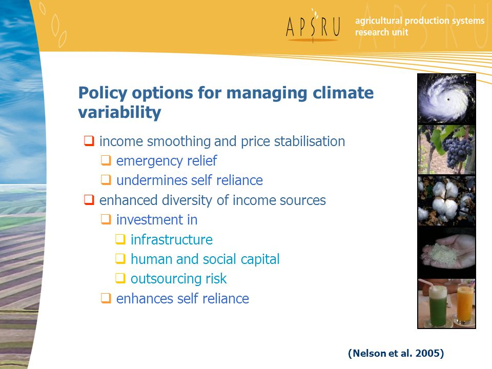 Policy options for managing climate variability  income smoothing and price stabilisation  emergency relief  undermines self reliance  enhanced diversity of income sources  investment in  infrastructure  human and social capital  outsourcing risk  enhances self reliance (Nelson et al.