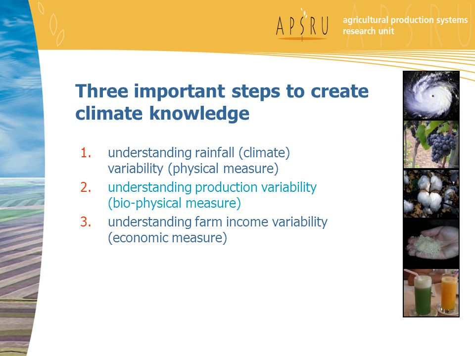 Three important steps to create climate knowledge 1.understanding rainfall (climate) variability (physical measure) 2.understanding production variabi