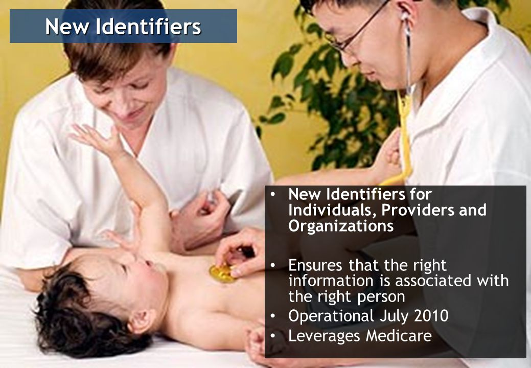 New Identifiers for Individuals, Providers and Organizations Ensures that the right information is associated with the right person Operational July 2010 Leverages Medicare New Identifiers