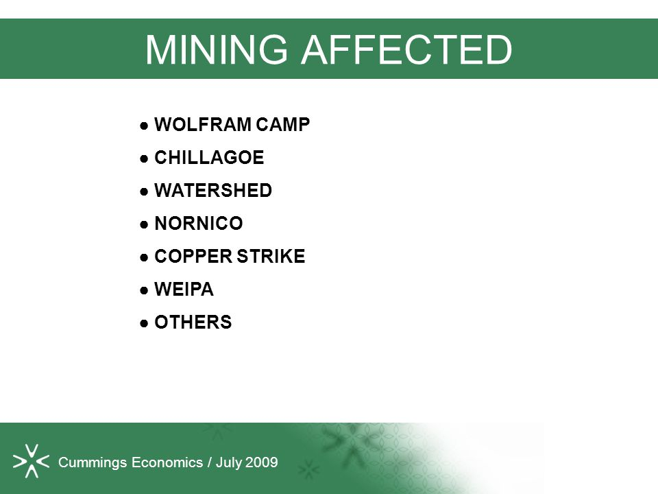 Cummings Economics / July 2009 MINING AFFECTED ● WOLFRAM CAMP ● CHILLAGOE ● WATERSHED ● NORNICO ● COPPER STRIKE ● WEIPA ● OTHERS