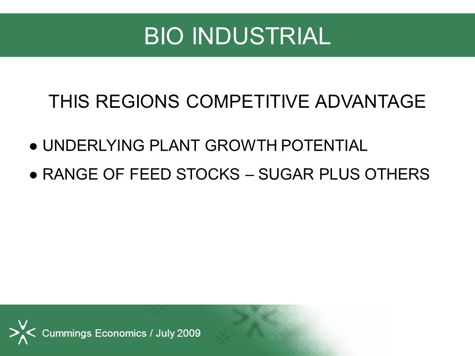 Cummings Economics / July 2009 BIO INDUSTRIAL ● UNDERLYING PLANT GROWTH POTENTIAL ● RANGE OF FEED STOCKS – SUGAR PLUS OTHERS THIS REGIONS COMPETITIVE ADVANTAGE