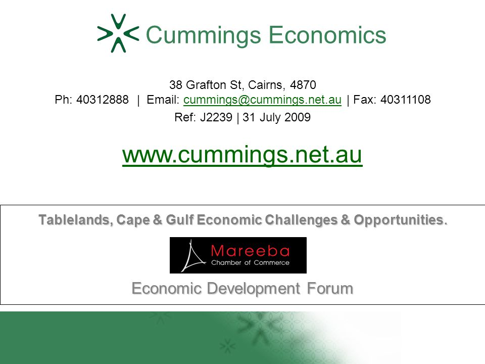 Tablelands, Cape & Gulf Economic Challenges & Opportunities.