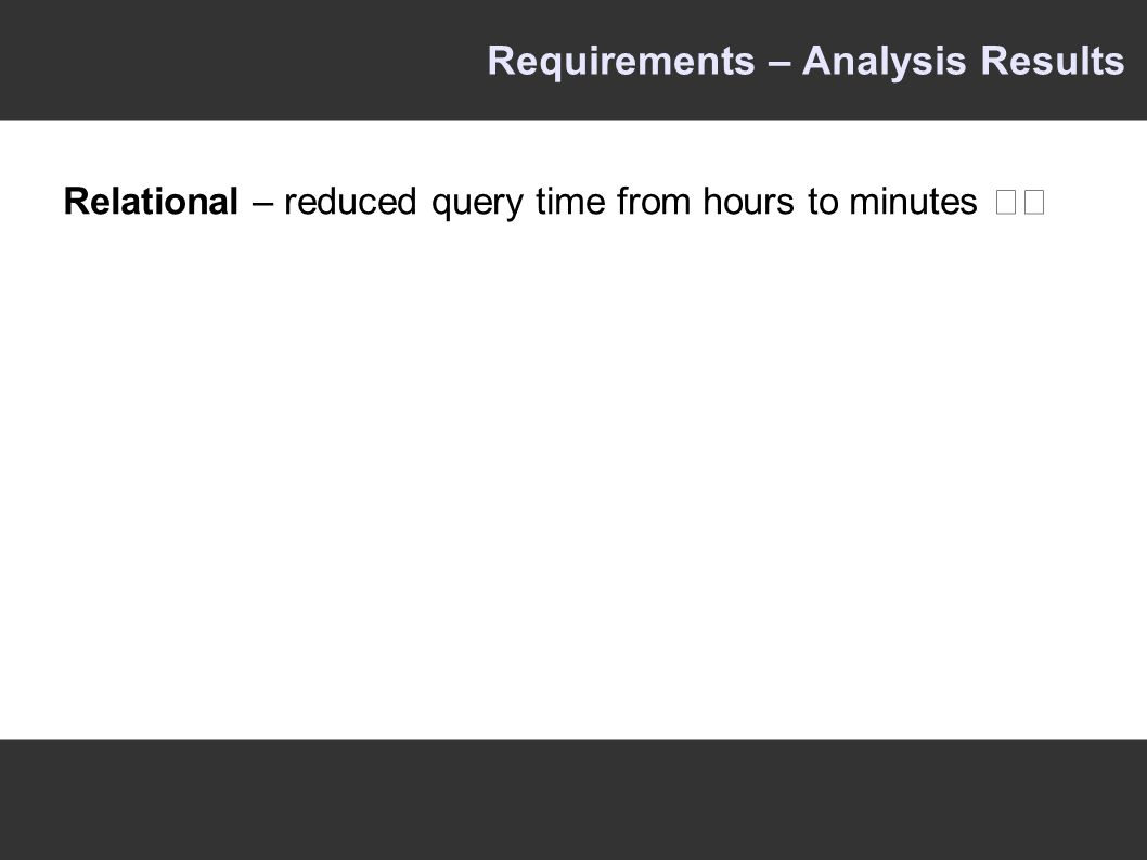 Requirements – Analysis Results Relational – reduced query time from hours to minutes