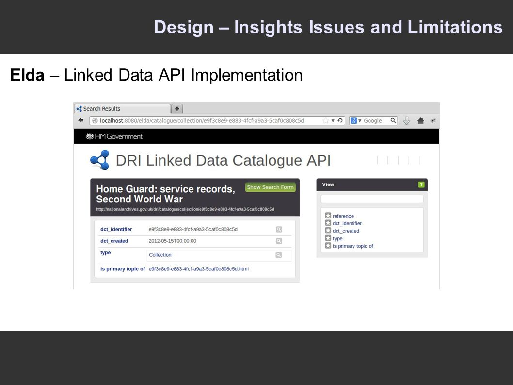 Design – Insights Issues and Limitations Elda – Linked Data API Implementation