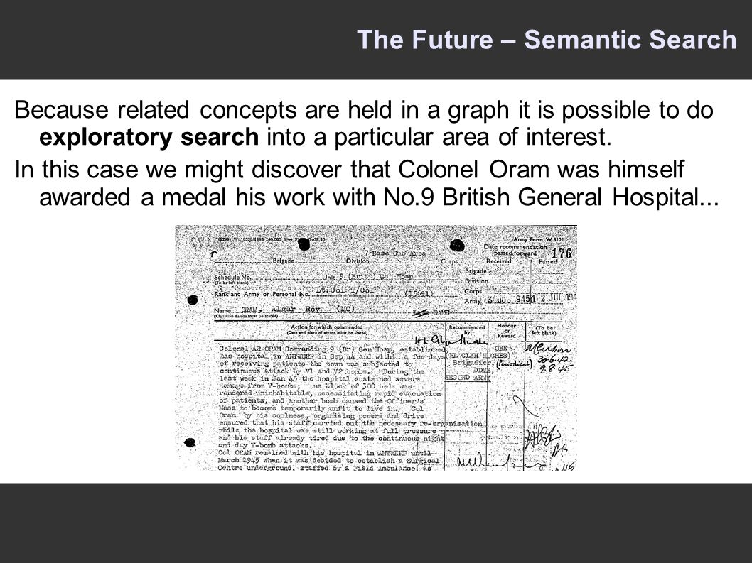 The Future – Semantic Search Because related concepts are held in a graph it is possible to do exploratory search into a particular area of interest.