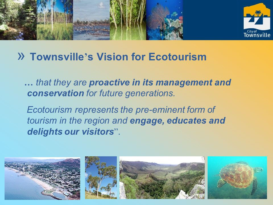 » Community-based approach (1998 – workshops and Strategy 2000) » Develops and promotes opportunities for business and fosters cooperation across the North Queensland region » Notion of the Townsville Experience or Trang Experience (Thailand) Linking with Kenya – plants, gondwana, people, experiences (or Sao Paulo or Cape Town) »Townsville ' s Ecotourism Strategy