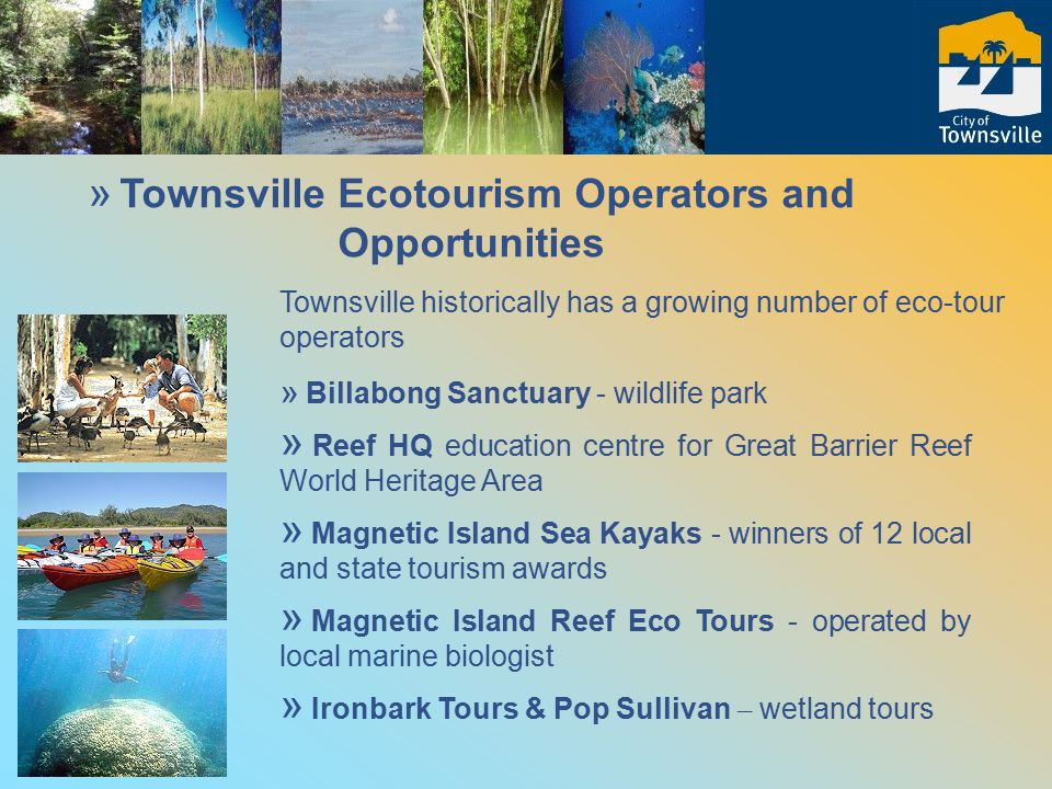 » Townsville Ecotourism Operators and Opportunities Townsville historically has a growing number of eco-tour operators » Billabong Sanctuary - wildlife park » Reef HQ education centre for Great Barrier Reef World Heritage Area » Magnetic Island Sea Kayaks - winners of 12 local and state tourism awards » Magnetic Island Reef Eco Tours - operated by local marine biologist » Ironbark Tours & Pop Sullivan – wetland tours