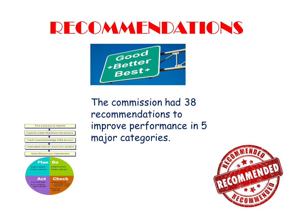 RECOMMENDATIONS The commission had 38 recommendations to improve performance in 5 major categories.