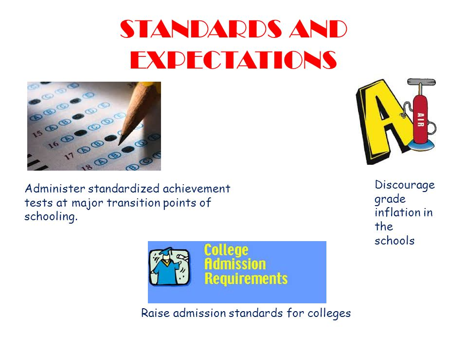 STANDARDS AND EXPECTATIONS Discourage grade inflation in the schools Raise admission standards for colleges Administer standardized achievement tests at major transition points of schooling.