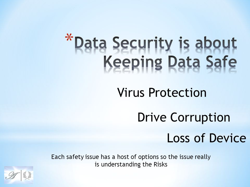 Virus Protection Drive Corruption Loss of Device Each safety issue has a host of options so the issue really is understanding the Risks