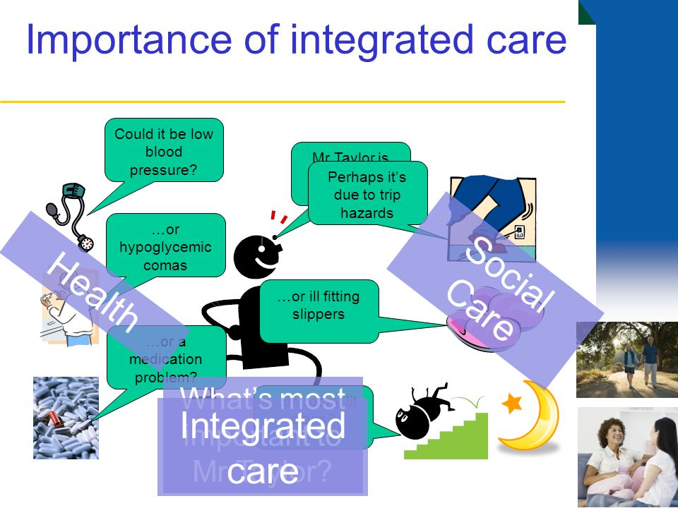 Importance of integrated care Mr Taylor is beginning to fall …or a medication problem.