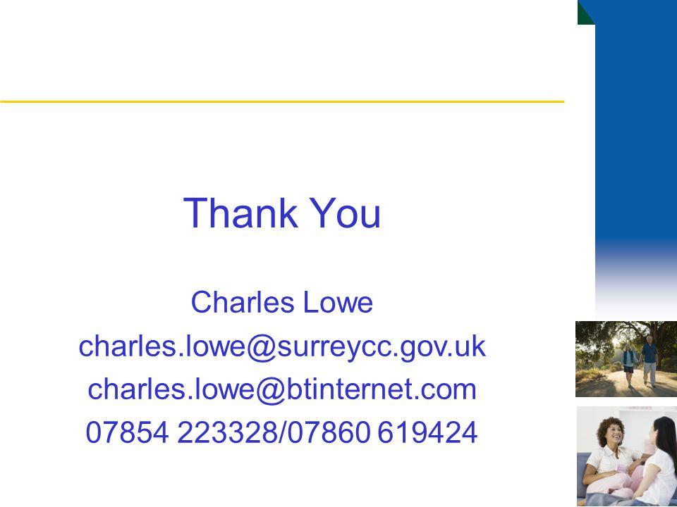 Thank You Charles Lowe charles.lowe@surreycc.gov.uk charles.lowe@btinternet.com 07854 223328/07860 619424