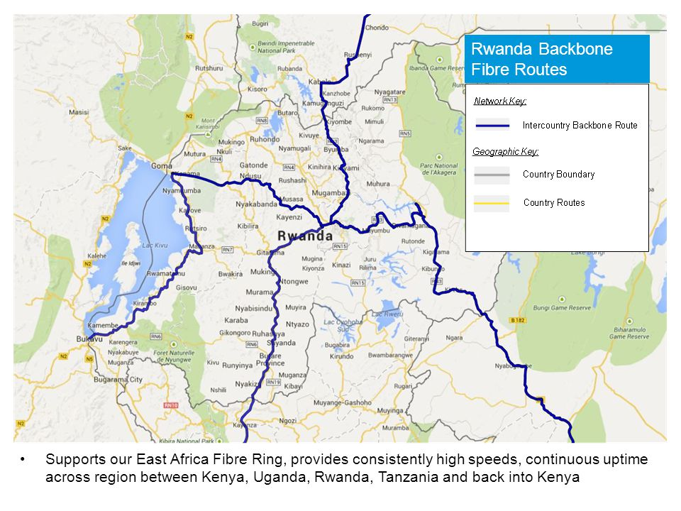 Supports our East Africa Fibre Ring, provides consistently high speeds, continuous uptime across region between Kenya, Uganda, Rwanda, Tanzania and ba