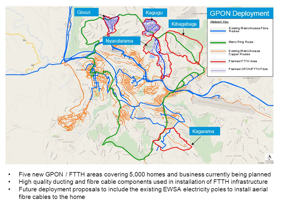 Five new GPON / FTTH areas covering 5,000 homes and business currently being planned High quality ducting and fibre cable components used in installation of FTTH infrastructure Future deployment proposals to include the existing EWSA electricity poles to install aerial fibre cables to the home GPON Deployment Kagarama Kibagabaga Kagugu Gisozi Nyarutarama