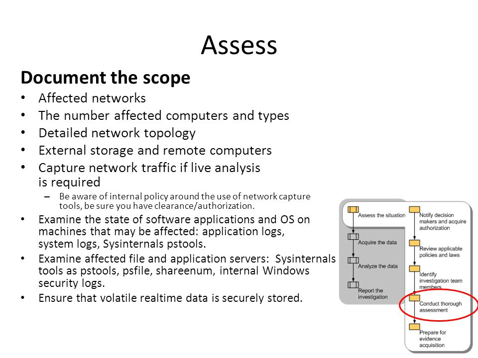 Document the scope Affected networks The number affected computers and types Detailed network topology External storage and remote computers Capture network traffic if live analysis is required – Be aware of internal policy around the use of network capture tools, be sure you have clearance/authorization.