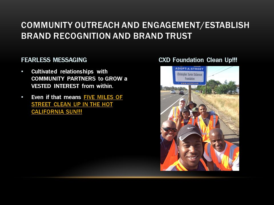 Partnered the DONOR BRAND with BRANDS the targeted community trust, such as Churches, and other organizations with long standing historical tactile involvement in the community with proven service resulting in community trust.
