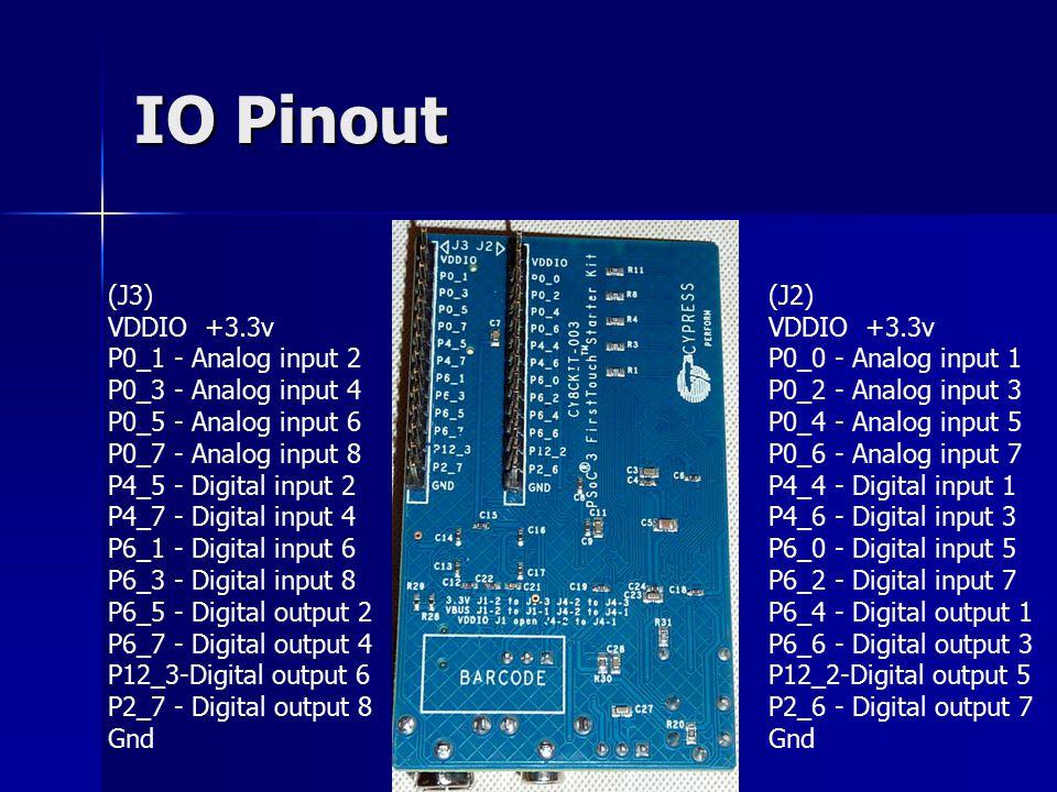 IO Pinout (J2) VDDIO +3.3v P0_0 - Analog input 1 P0_2 - Analog input 3 P0_4 - Analog input 5 P0_6 - Analog input 7 P4_4 - Digital input 1 P4_6 - Digital input 3 P6_0 - Digital input 5 P6_2 - Digital input 7 P6_4 - Digital output 1 P6_6 - Digital output 3 P12_2-Digital output 5 P2_6 - Digital output 7 Gnd (J3) VDDIO +3.3v P0_1 - Analog input 2 P0_3 - Analog input 4 P0_5 - Analog input 6 P0_7 - Analog input 8 P4_5 - Digital input 2 P4_7 - Digital input 4 P6_1 - Digital input 6 P6_3 - Digital input 8 P6_5 - Digital output 2 P6_7 - Digital output 4 P12_3-Digital output 6 P2_7 - Digital output 8 Gnd