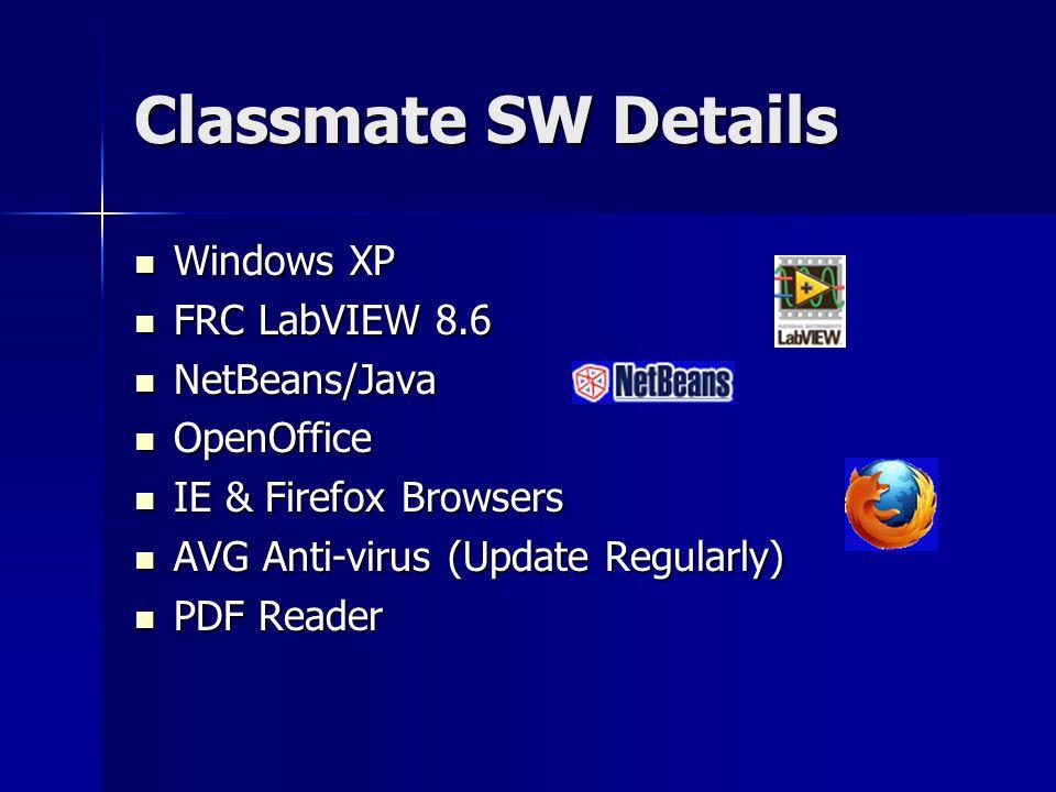Classmate SW Details Windows XP Windows XP FRC LabVIEW 8.6 FRC LabVIEW 8.6 NetBeans/Java NetBeans/Java OpenOffice OpenOffice IE & Firefox Browsers IE & Firefox Browsers AVG Anti-virus (Update Regularly) AVG Anti-virus (Update Regularly) PDF Reader PDF Reader