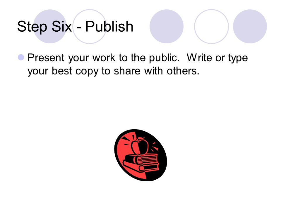 Step Six - Publish Present your work to the public. Write or type your best copy to share with others.