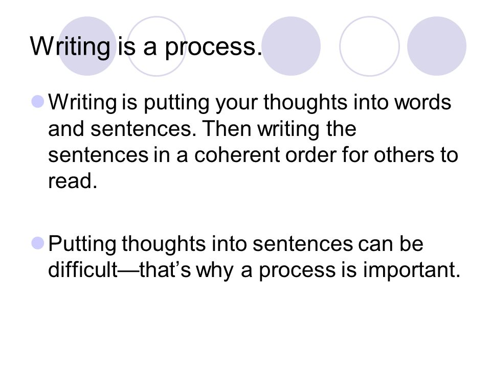 Writing is a process. Writing is putting your thoughts into words and sentences. Then writing the sentences in a coherent order for others to read. Pu