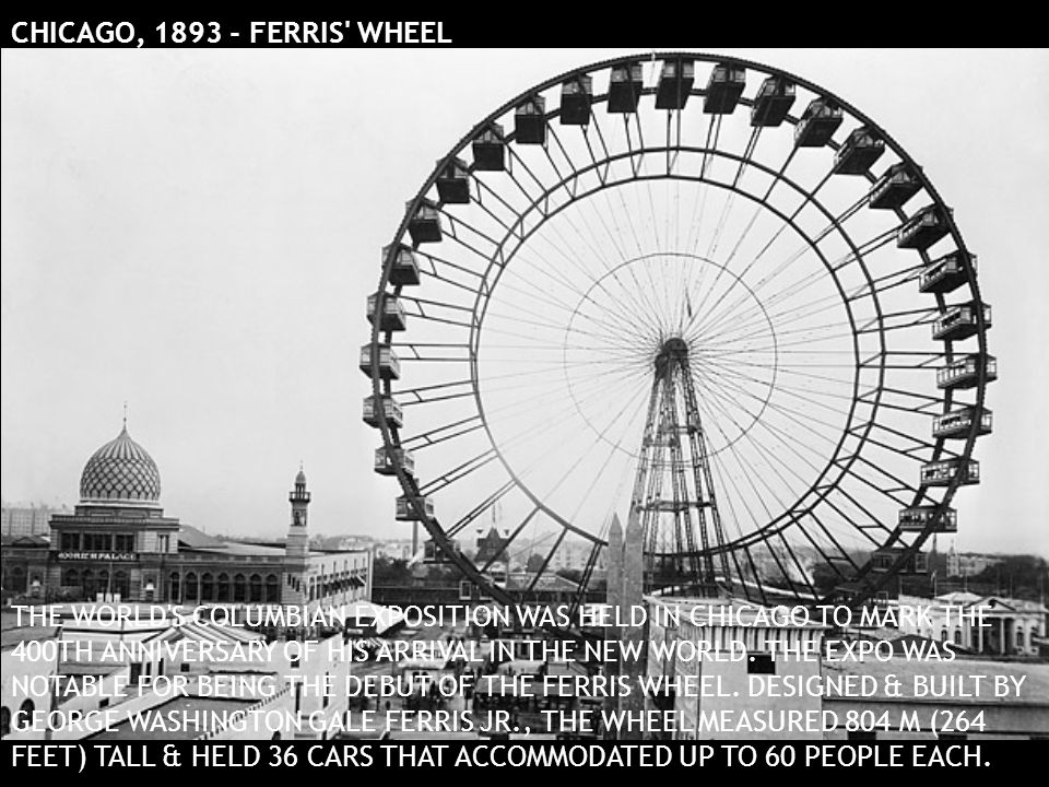 CHICAGO, 1893 - FERRIS' WHEEL THE WORLD'S COLUMBIAN EXPOSITION WAS HELD IN CHICAGO TO MARK THE 400TH ANNIVERSARY OF HIS ARRIVAL IN THE NEW WORLD. THE