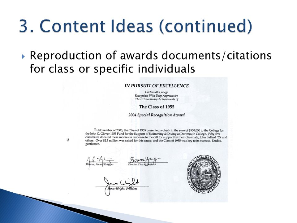  Reproduction of awards documents/citations for class or specific individuals