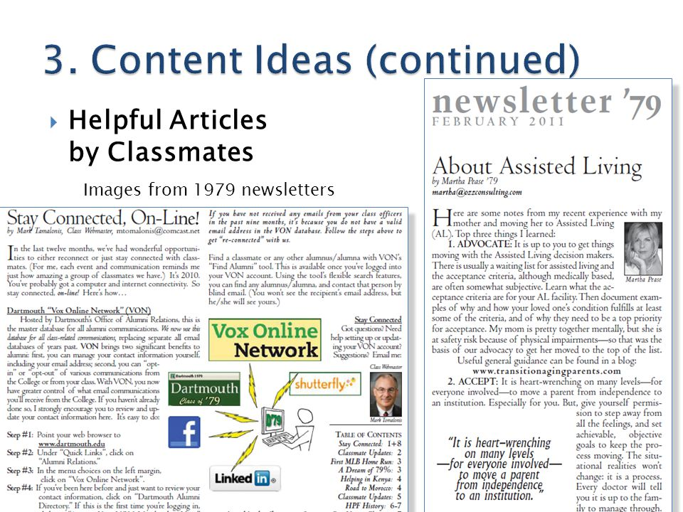  Helpful Articles by Classmates Images from 1979 newsletters